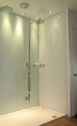 Shower with tinted glass walls instead of tiles.  No more mouldy grout to clean!