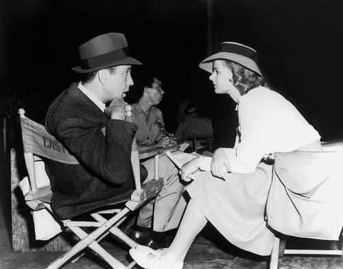 Humphrey Bogart and Ingrid Bergman on the set of Casablanca, 1942.