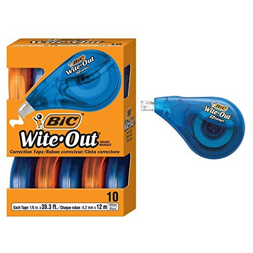 2 Pack White 10-Count BIC Wite-Out Brand EZ Correct Correction Tape