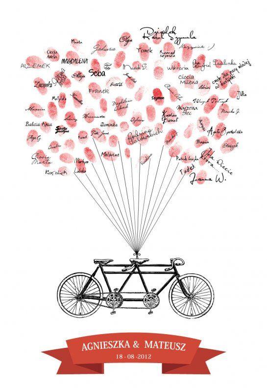 50x70 Tandem Wpisów Gości Weselnych - Retro rowery
