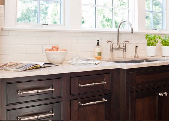 kitchen with cabinets inspiration for my kitchen white subway tile amp chocolate 3493