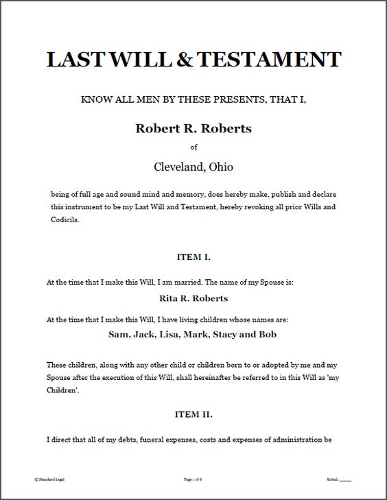 write a will free template - last will testament legal forms software standard