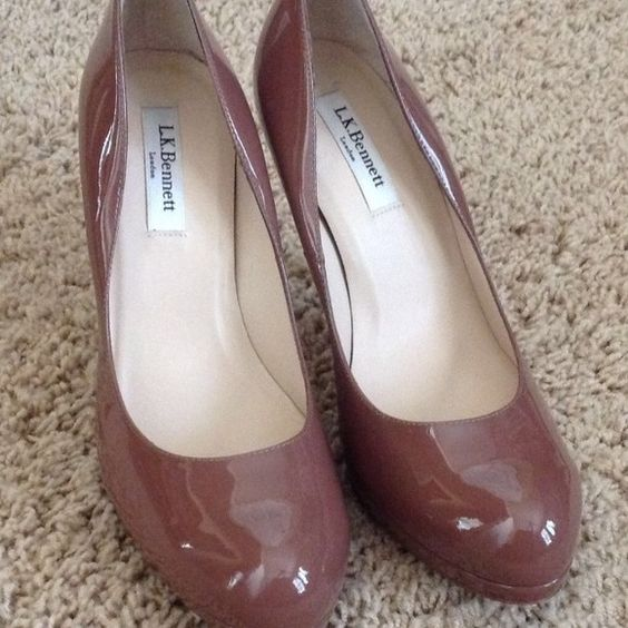 """Authentic LK Bennett Sledge Pump New never worn, although the plastic backing has been removed L.K. Bennett heels size 39.5 EU US size 9 1/2 Color: Winter Rose, which looks like nude with a splash of mauve. 4"""" heel; 1/2"""" platform. Patent leather upper/leather lining and sole All items I sell are guaranteed 100% authentic and come from major department stores. They are from my personal collection. Designer brands fit differently, so please know your size in LK Bennett shoes LK Bennett Shoes"""