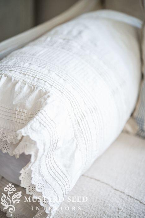 repurposing a petticoat as a bolster cover | miss mustard seed: