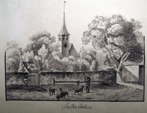 1800 c. Original wash and pen INTERLAKEN signed Alb. Lasunn