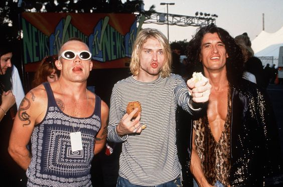 """Flea , Kurt Cobain ,And Joe Perry Of Red Hot Chili Peppers , Nirvana , Aerosmith """