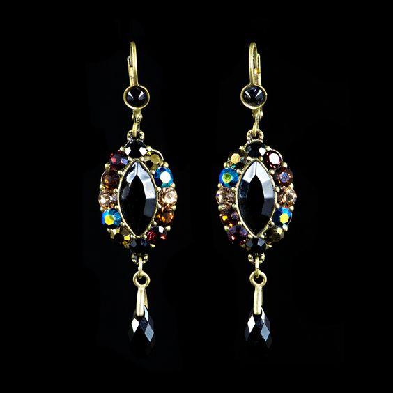 Michal Negrin Black Jet & Bronze Drop Earrings (15707 24) | Alexandra May