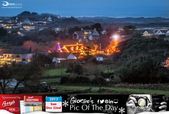 Christmas in the Câstel. View from the Dos D'Ane looking towards Vazon #LoveGuernsey   http://chrisgeorgephotography.dphoto.com/#/album/cbc2cr/photo/20712485  Perrys Guide Ref: Page 13 H5 Picture Ref: 22_12_13 — in Guernsey.