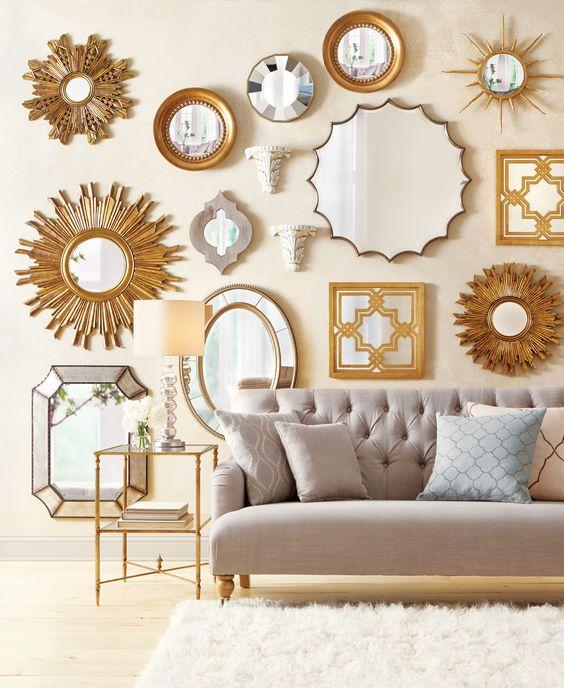Duvar dekorasyon fikirleri ve önerileri-ayna uygulama