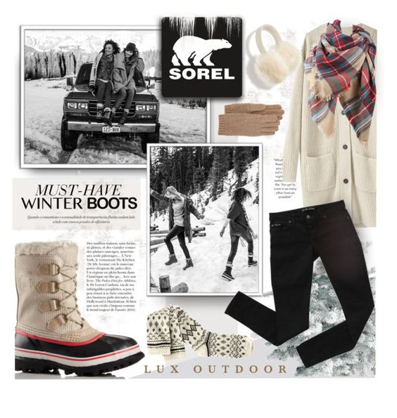 """Introducing the 2015 Winter Collection from SOREL: Contest Entry"" by jenpeterson07 ❤ liked on Polyvore featuring SOREL, Kale, H&M, La Garçonne Moderne, Bardot, Anja, Madewell and Portolano"