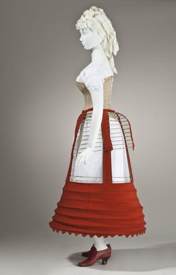 1862-1870 English Woman's Bustle Cage Crinoline: