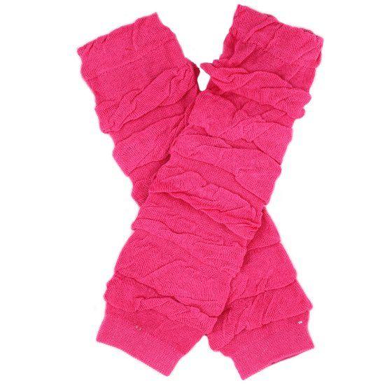 Hot Pink Gathered Cotton Leg Warmers