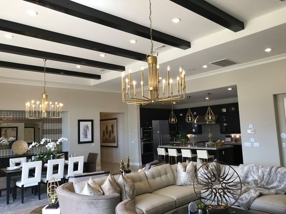beams and chandeliers