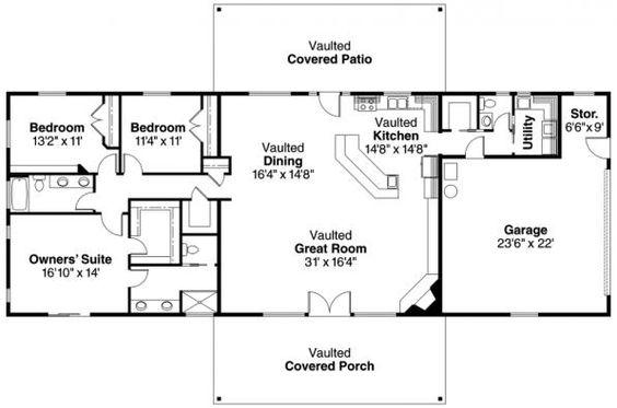 Ottawa - 30-601 - Ranch House Plan - Floor Plan