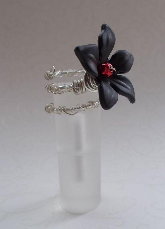 Schwarzer Acryl Ring Blütenhauch/Elfe Fee Lilie Blume MAgie ZAuber Elb Fantasie
