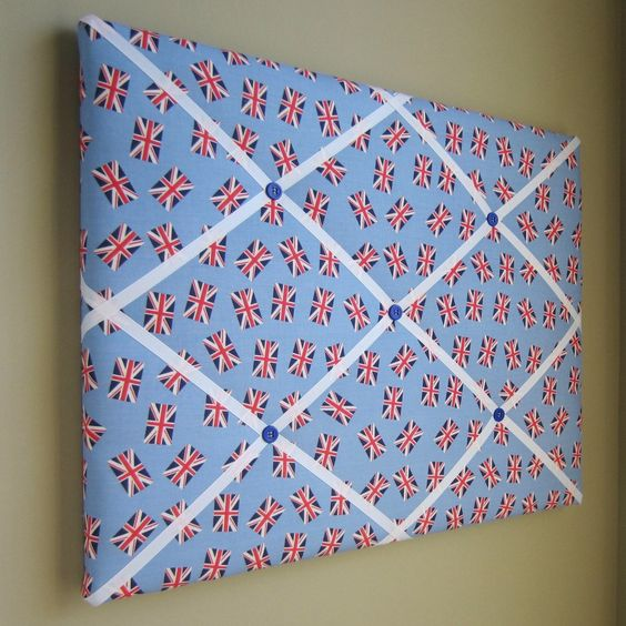 "16""x20"" Memory Board or Bow Holder-London Calling Blue Union Jack"