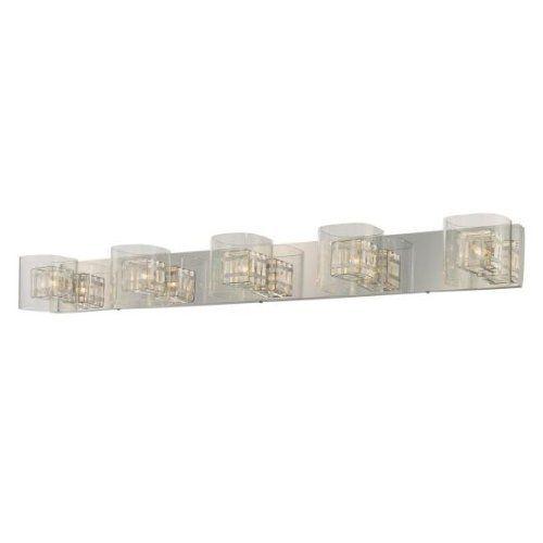 George Kovacs P5805-077 5 Light Jewel Box Bathroom Light by Kovacs. Save 27 Off!. $260.00. Light Bulb:(5)40w T4 G9 120v Xenon  5-Light Bathroom Light  Clear glass  Aluminum cage/Chrome backplate