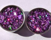 Lavender Purple Haze Holographic Plugs Embedded Resin Filled - Made to Order 6,2,0, 00,1/2, 9/16, 5/8,11/16,3/4,7/8 #EasyNip