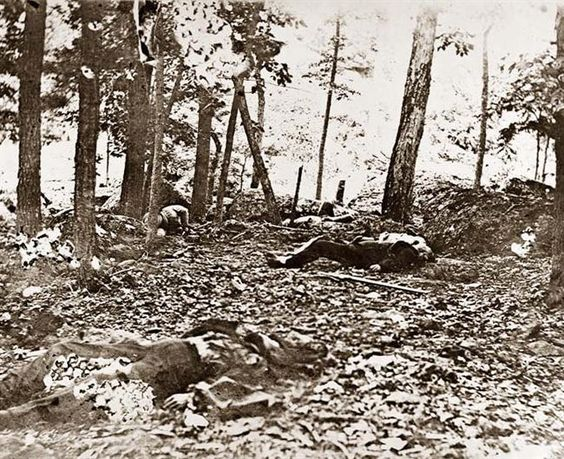 Scene in the woods at foot of Round Top at Battle of Gettysburg