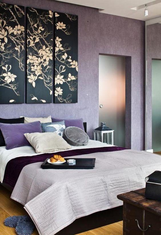wandfarbe schlafzimmer flieder deko blumen motive Future Home - schlafzimmer flieder
