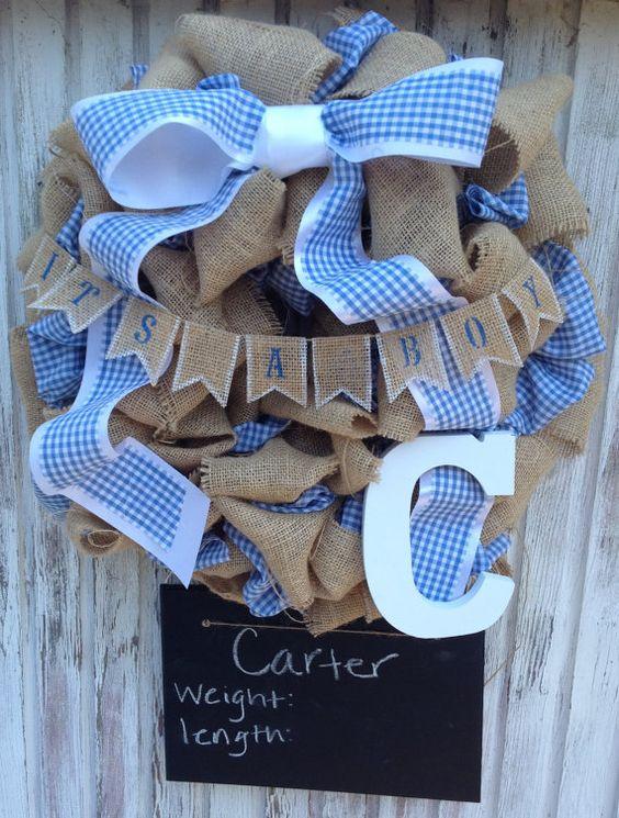 18 inch burlap baby boy wreath with monogram and for Baby boy door decoration