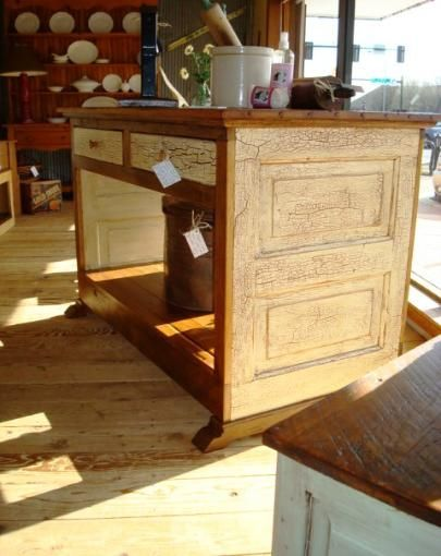 Kitchen Island Made From Old Barn Wood And An Old Door How Chic Is This K