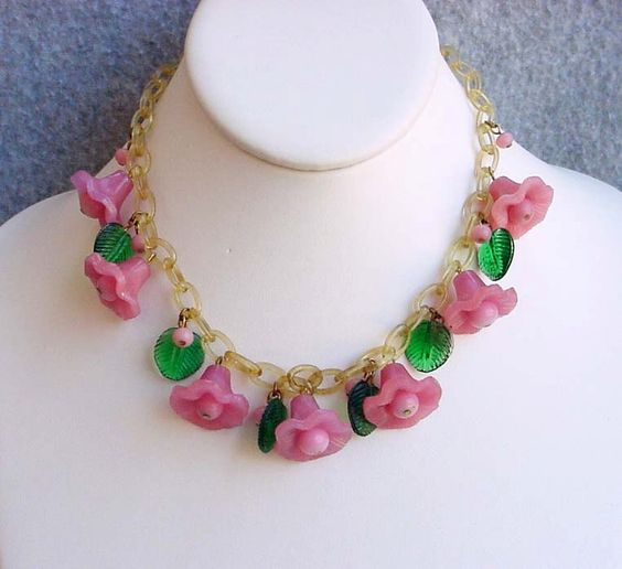 """Venetian Glass Necklace Pink Bellflowers Celluloid Chain Miriam Haskell Attributed Runway Bib Choker 15 1/2"""" Vintage Costume Jewelry Green (300.00 USD) by Kissisjustakiss"""