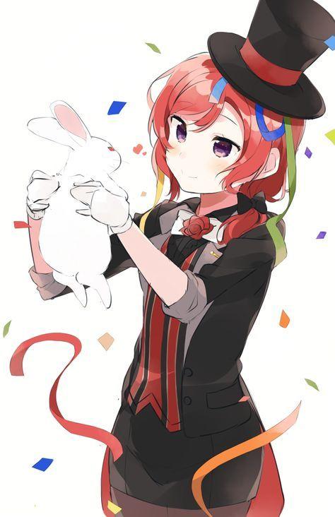 Manga Mädchen Zauberin mit weißem Hasen