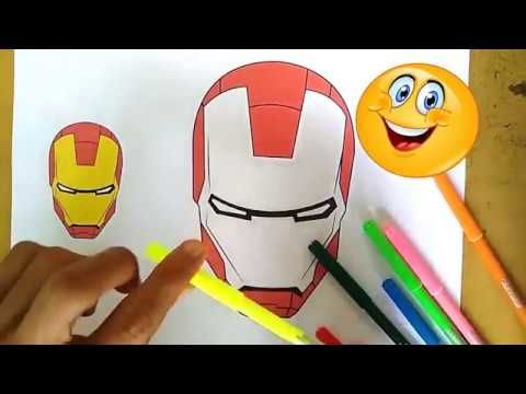 Coloring Painting Spiderman And Ironman Masks Youtube Ironman Mask Spiderman Painting