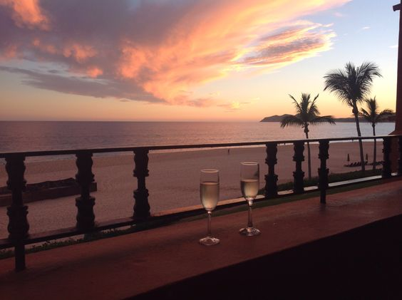 Sunset on our deck at Zoetry Casa Del Mar