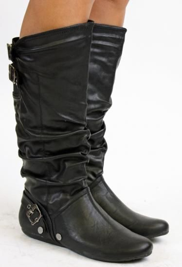 Details about WOMENS FLAT KNEE HIGH LADIES WIDE CALF LEG BOOTS ...