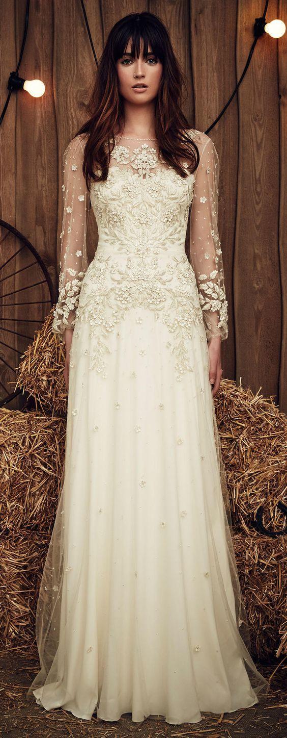 Gallery: Jenny Packham Spring 2017 vintage long sleeves wedding ...