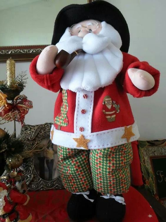 Noel con pipa papa noel con moldes pinterest noel - Papa noel manualidades ...