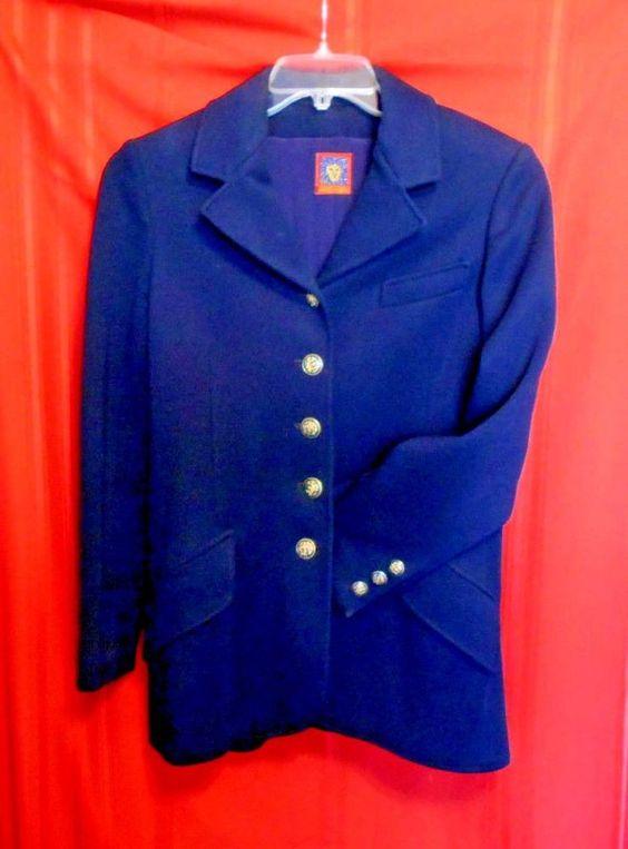 Anne Klein wool solid navy  jacket coat sz 10 black V-neck sz 10 long  #AnnieKlein #BasicCoat