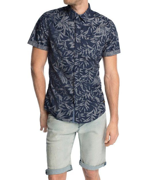 edc by ESPRIT Herren Slim Fit Freizeit Hemd mit Hawaii Muster, Gr. X-Small, Blau (DARK WASHED BLUE 447)
