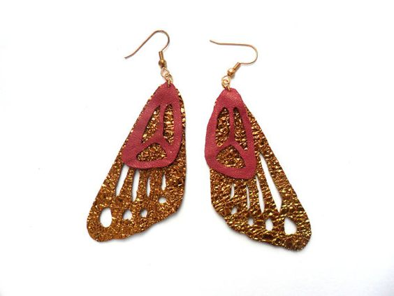 Bronze and fushia leather butterfly wing earrings. £10.00, via Etsy.
