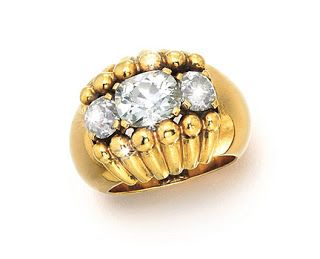 This is another great cocktail ring by Boivin. It is catalogued as Art Deco and dated in 1940