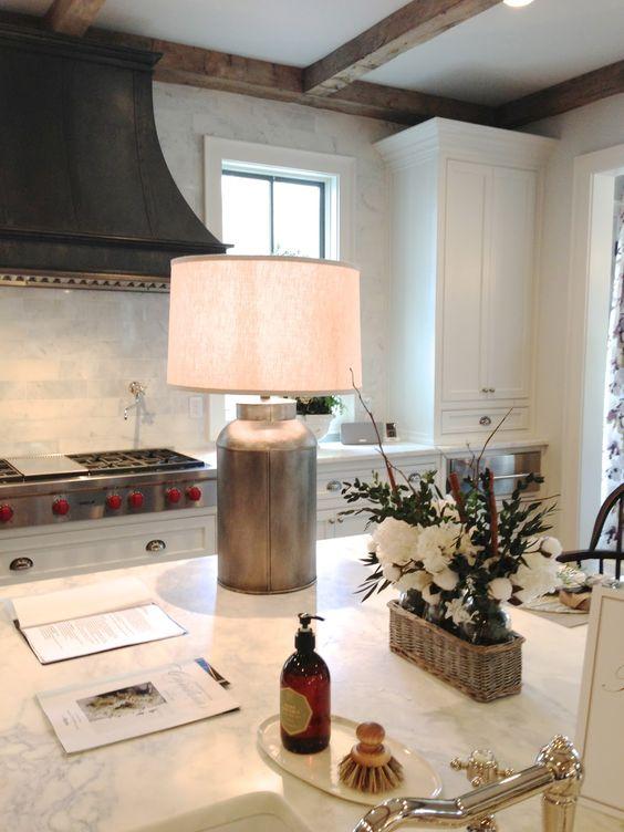 Ebony hood silver milk can lamp exposed beams via for Bella cucina kitchen cabinets