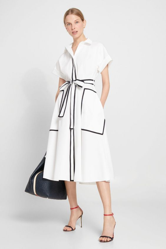 WHITE/NAVY BLUE Poplin shirt dress - Collection View all | Collection Collection CH Carolina Herrera