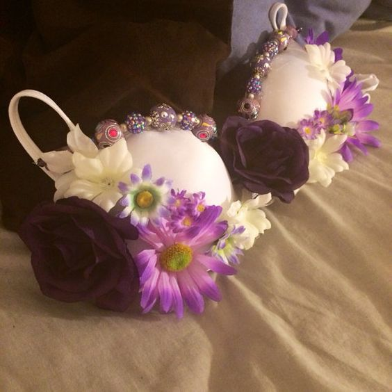 34b+Gorgeous+purple+flower+and+stoned+rave+bra+by+ExoticDaisy