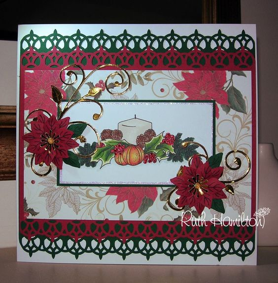 Christmas card idea candles and poinsettas