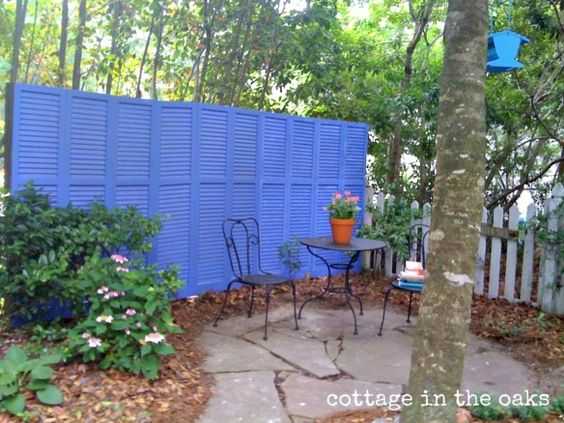make a fence out of old shutters  I am SO doing this!  I have everything I need.  So Cool!!: Shutter Fence, Privacy Fence, Privacy Wall, Yard Idea, Repurposed Shutter