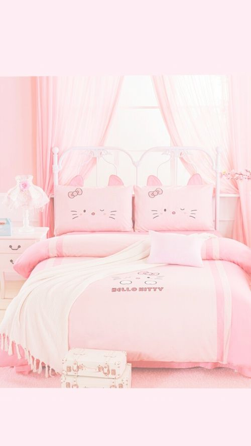 Pin By Winter Chui On Hello Kitty Beach Bedding Sets Luxury Bedroom Aesthetic Bed Linens Luxury Luxury hello kitty pink room