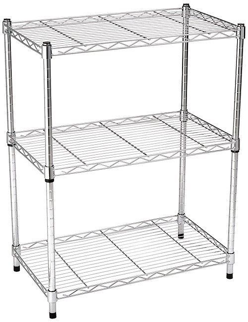Kitchen Storage Shelf Stainless Steel Chrome 3 Tier Shelves Cooking Rack Cart Unbranded Kitchen Storage Shelves Overhead Garage Storage Storage Shelves