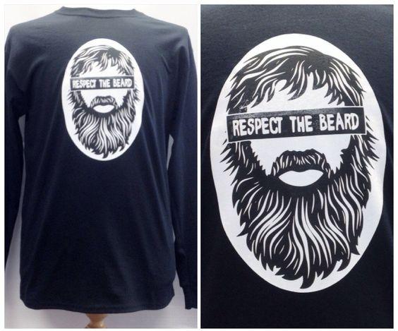 Handmade Retro Respect the Beard Graphic Long Sleeve Tshirt by TheGrungeMonkey on Etsy
