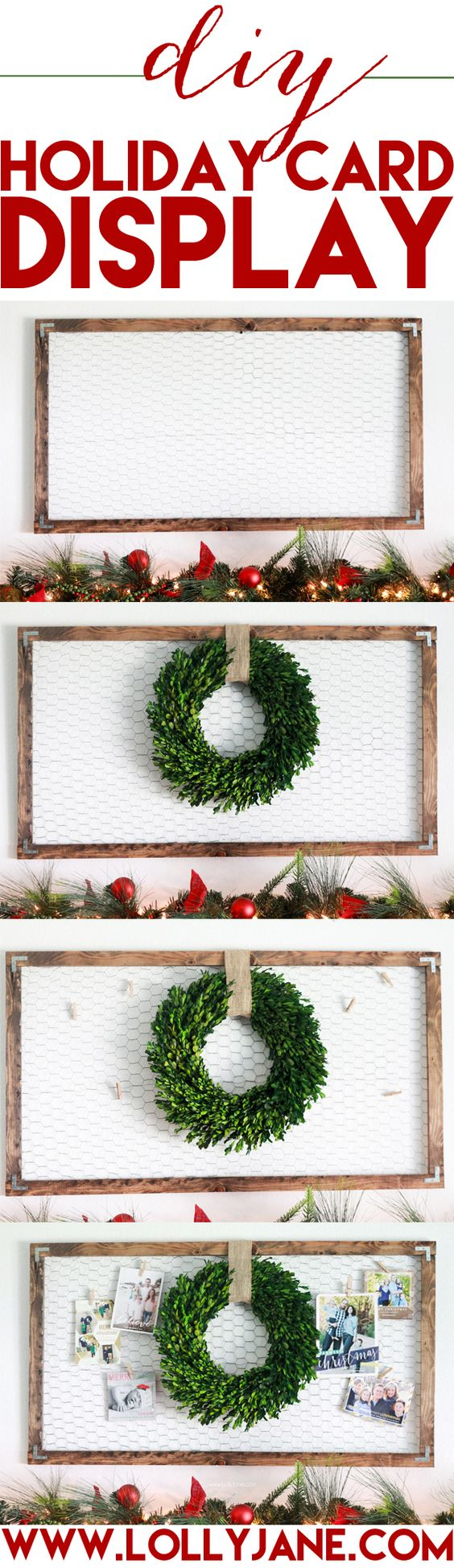 DIY holiday card display | So easy to make this adorable chicken wire frame with a few screws and L brackets!! Get the quick how to on www.lollyjane.com