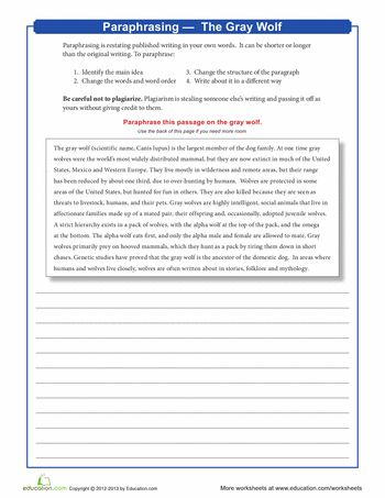 Worksheets: Paraphrasing: The Gray Wolf