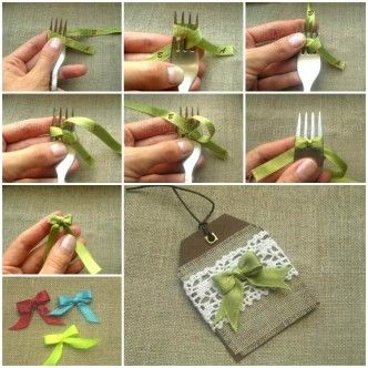 DIY satén arco de la cinta con un Tenedor 1