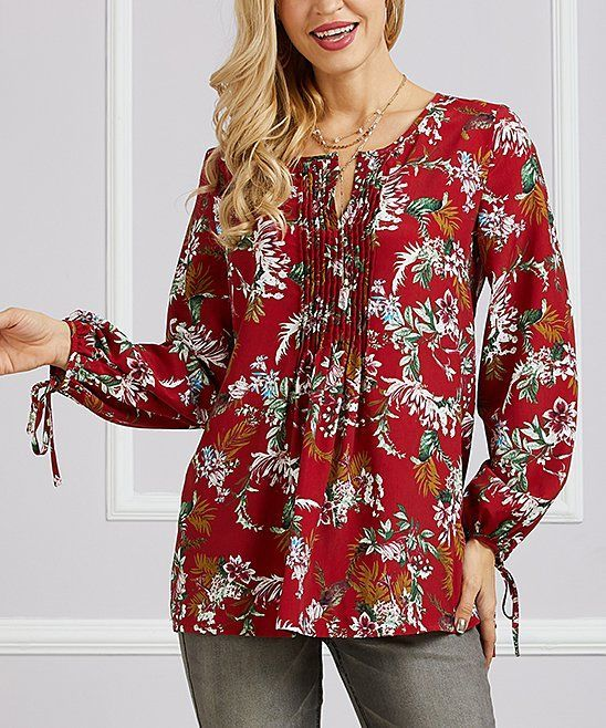 4d052ae526d Red Pear Floral Pleated Notch Neck Tunic - Women & Plus Suzanne Betro $8.79  #diet