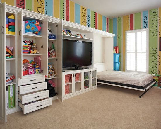 Admirable room design with cool murphy bed ideas for Cool playroom designs